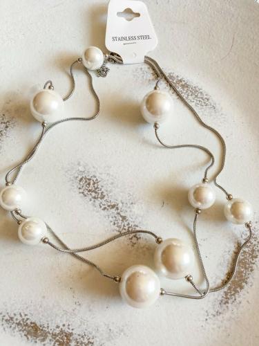 lange Perlenkette Silber