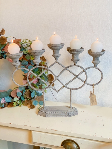 EXNER Metall Kerzenleuchter Antik - Grau